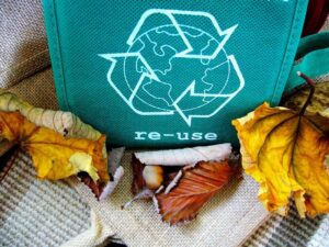re usable bag with recycling symbol on it.