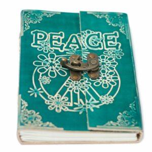Handmade leather bound notebook, Peace