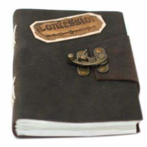 Handmade leather bound notebook, Confessions
