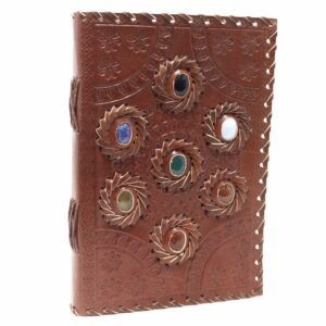 Leather Chakra Stone Notebook
