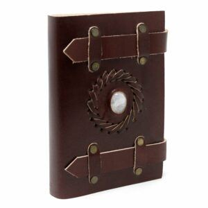Leather Moonstone with Belts Notebook