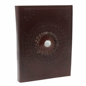 Leather Moonstone with circular patterning Notebook
