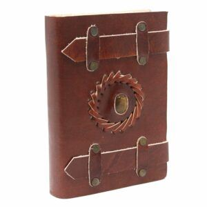 Leather bound notebook with tigers eye.