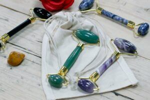 Gemstone Facial Rollers in a Pouch